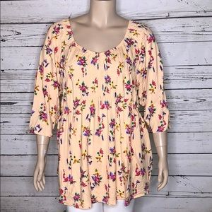 Woman Within 3X 30/32 Floral Elastic Peasant Shirt